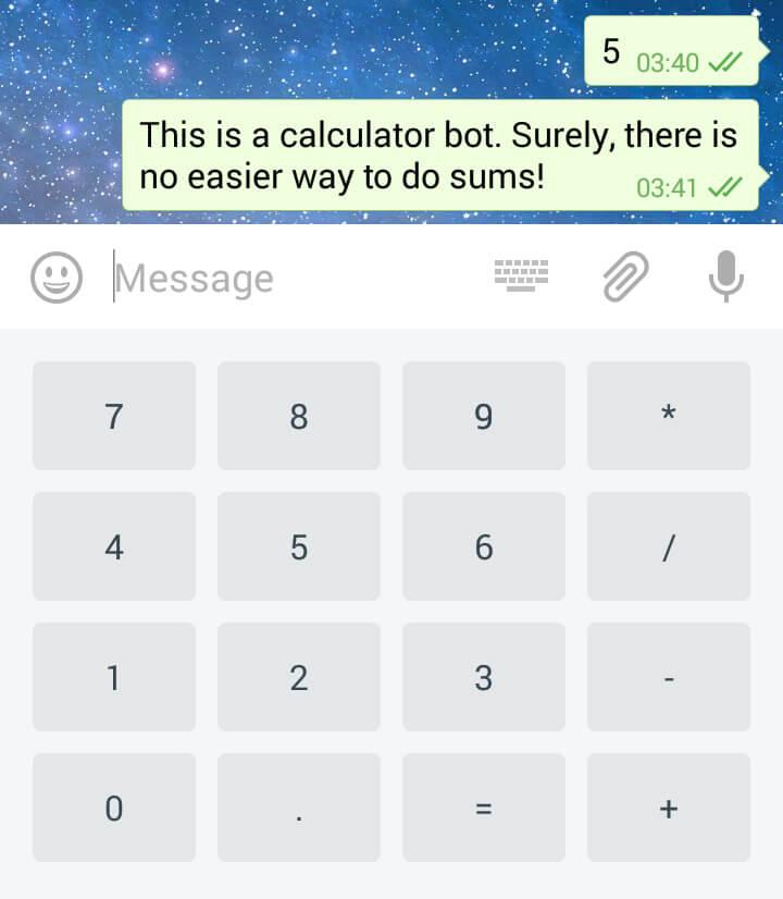 Клавиатура бота-калькулятора. Просто потому что.