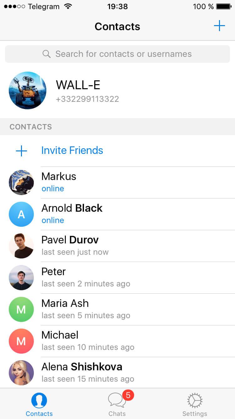 Новый поиск контактов