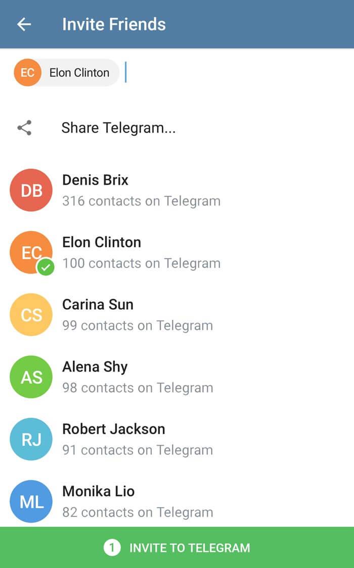 Приглашайте друзей в Telegram