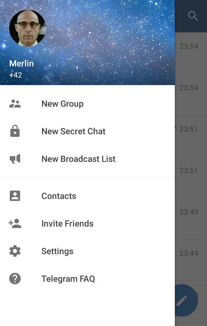 Скриншот меню файлов